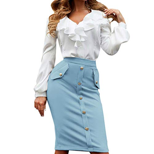 kingfansion Skirts with Pockets Women High Waisted Pencil Skirt Bodycon Button Skirts for Women Knee Length Blue by kingfansion dress (Image #5)