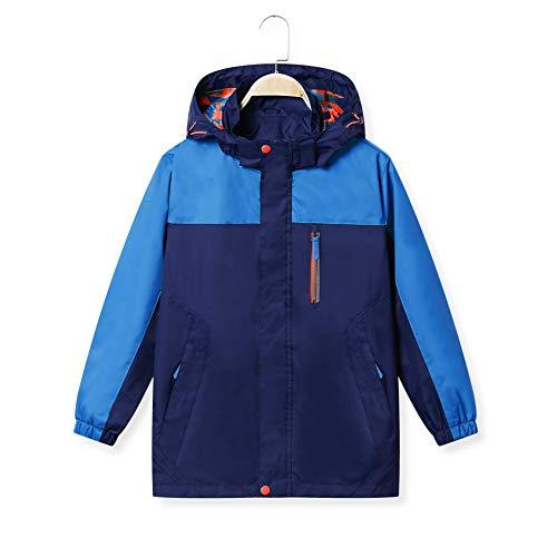 (KID1234 Boys' Lightweight Rain Jacket Quick Dry Waterproof Hooded Coat Deep Sky Blue)