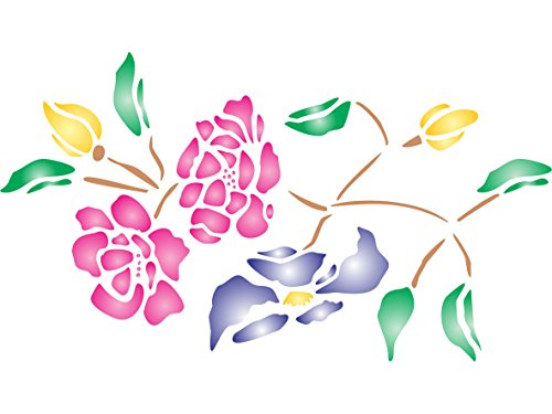 "Famille Rose Stencil - (size 8""w x 4.5""h) Reusable Wall Stencils for Painting - Best Quality Wall Border Flower Stencil Ideas - Use on Walls, Floors, Fabrics, Glass, Wood, Terracotta, and More..."