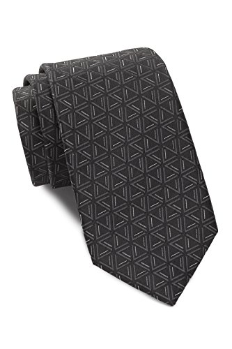 Ben Sherman Men's Triangle Print Silk Tie (Black)