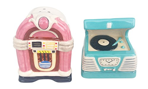 Blue Sky Ceramic 17321 Juke Box Salt & Pepper Set, Multicolor ()