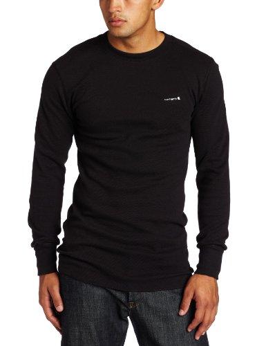 Carhartt Men's Big & Tall Heavyweight Cotton Thermal Crewneck Top,Black  (Closeout),Large Carhartt Cotton Thermal Underwear