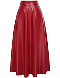 Women's PU Faux Leather High Waist A-Line Long Swing Skater Skirt