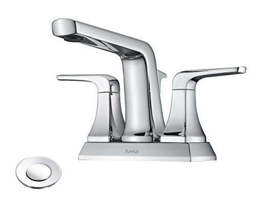 """4 inch Centerset Bathroom Faucet with Drain Assembly, Chrome Finish Levra Two Handle 4"""" Spread Fit for 3 Hole Sink, by Purelux ()"""
