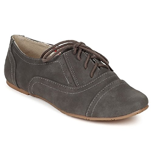 Women's Classic Oxford Lace up Flats Sneaker Casual Comfort Dress Formal Shoes Loafers Slippers CAM03 Grey 9