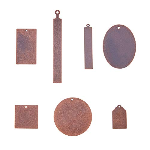 - PandaHall Elite 42 Pcs Brass Flat Blank Stamping Tag Pendants Charms 7 Styles for Jewelry Making Red Copper