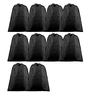 Travel Shoe Bags, Portable Travel Shoe Tote Bags - Packing Organizers for Men and Women (10Black)