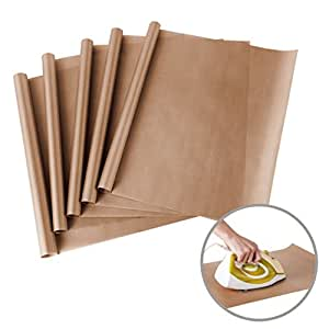 "5 Pack PTFE Teflon Sheet for Heat Press Transfer Sheet Non Stick 16 x 20"" Heat Resistant Craft Mat"