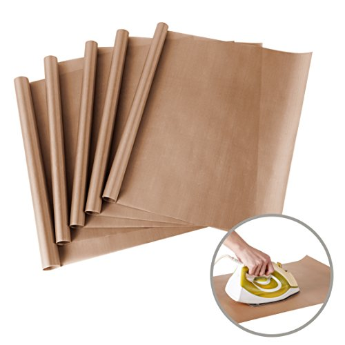 5 Pack PTFE Teflon Sheet for Heat Press Transfer Sheet Non Stick 16 x 24' Heat Resistant Craft Mat