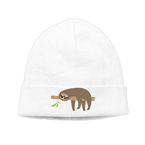 Sloth Lying On Tree Branch Cute Unisex Slouchy Baggy Caps Beanies Hat -