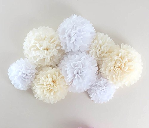 Furuix 8pcs White Mixed Cream Tissue Paper Pom Pom Paper Flower Pom for Baby Shower Wedding Birthday Celebration Table Wall Decoration (Paper Flower Pom)