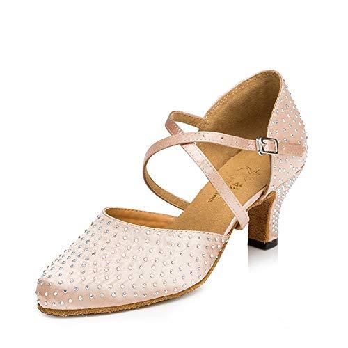 Color6cm Baile Dance Heels Banquete de Sandalias de Zapato Latin Suede High QXH Mujer wW8X7UxTqn