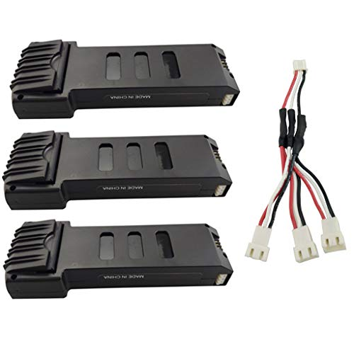 Fytoo 3PCS 7.4V 1200mah Lithium Battery + 1 to 3 Charging Conversion line for E511 E511S Folding Quadcopter Spare Parts Remote Control Helicopter Battery ()
