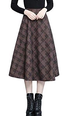 chouyatou Women's Retro High Waist A-Line Swing Midi Plaid Tartan Skirt Pocket