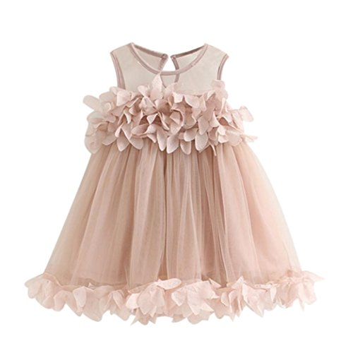 Baby Girls Princess Tutu Dress, Lace Flower Pageant Sleeveless Mesh Print Vest Dresses (Pink, 4T) -