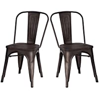 Merax High Back Metal Dining Chair with Wood Seat Stackable Vintage Dining Bistro Cafe Side Chairs, Copper
