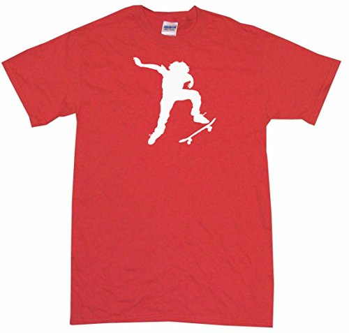 Ollie Skateboard Kid Silhouette Big Boy's Kids Tee Shirt Youth Small-Red (Heavyweight Red Youth T-shirt)