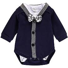 Baby Boys 2pcs Gentleman Bodysuit Bowtie Romper Overalls Newborn Clothes