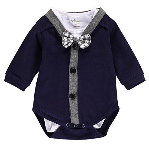Baby Boys 2pcs Gentleman Bodysuit Bowtie Romper Overalls Newborn Clothes (0-3M, Gentleman) ()