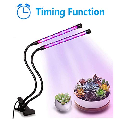 YOQXHY Grow Lights 20W Dual Head Timing Plant Growing Lamps with 40 LED,Red/Blue Spectrum,Adjustable Gooseneck,3/9/12H Timer,9 Dimmable Levels,3 Switch Modes for Indoor Plants