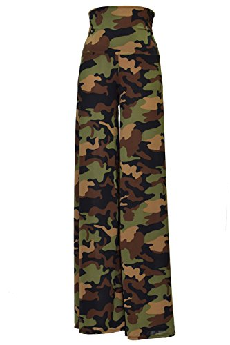 (VIV Collection Stretchy Wide Leg Printed Palazzo Pants (Large, Green Army Camouflage))