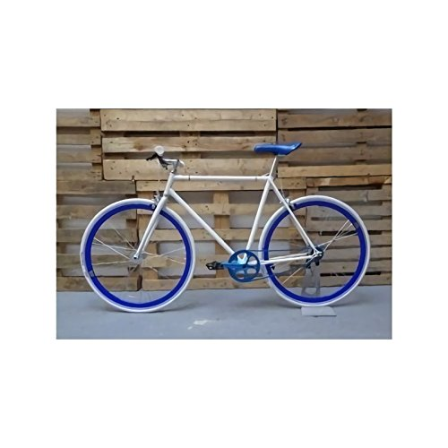 Desconocido Bicicleta blanca detalles ruedas azules: Amazon.es ...