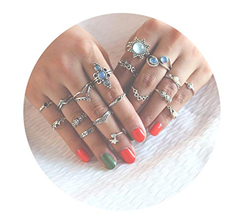 Gudukt Knuckle Ring Set Vintage Big Opal Star Crystal Pearls Boho Stackable Rings Women