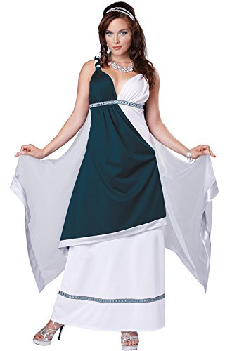 California Costumes Women's Roman Beauty Goddess Queen Long Dress, Teal/White, X-Large (Beauty Queen Fancy Dress)