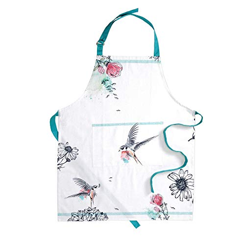 Folkulture Cotton Apron for Women with Pocket and Adjustable Neck Strap, Men and Chef Kitchen Apron for Cooking, Baking, BBQ and Grill, 27.50 Inch by 31.50 Inch, Blue and White ()