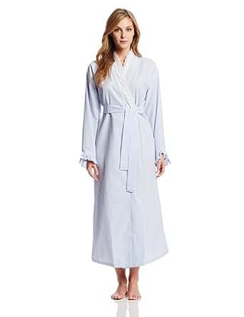 Eileen West Women's Flower Child Seersucker 52 Inch Wrap Robe, Blue Stripe, Large/X-Large