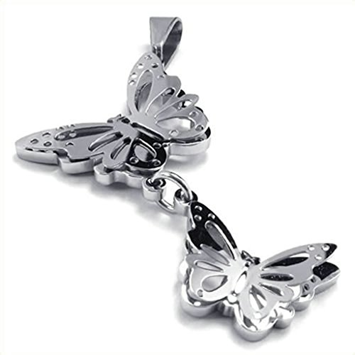 Bishilin Stainless Steel Silver Hollow Butterfly Pendant Necklaces with Chain 22 Inch for Women Men with Free Engraved (Blues Clues Couple Costume)
