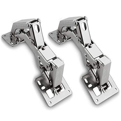 Acrux7 2 Pack Kitchen Cabinet Door Hinges with Soft Close, Adjustable 165 Degree Face Frame Mounting Concealed Hinges for Kitchen Cabinet, Full Overlay