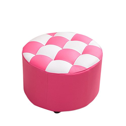 Faux Leather Ottoman Small Bench Round Stool Change Shoe Bench Adult Living Room Household Fashion Creative Solid Wood,Pink (Ottoman Stitch Coffee Table)