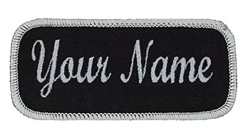 Uniform or work shirt personalized Identification tape Embroidered Sew On or Hook Fastener. Light Grey/Black Script, SEW ON