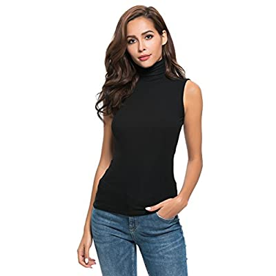 Womens Sleeveless Mock Turtleneck Stretch Soft Slim Fit T Shirt Layer Top: Clothing