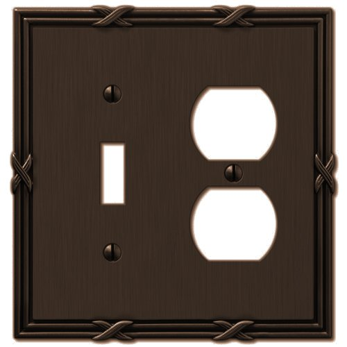 Amerelle 44TDVB Ribbon and Reed 1 Toggle/1 Duplex Wallplate, Aged Bronze