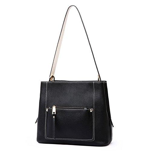 Lecxci Women Leather Handbags Ladies Purses Satchel Zipper Closure Shoulder Bags Multi-pocket Tote Bag (Black) - Multi Pocket Zip