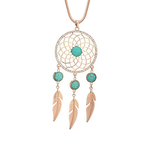 BIRSTONE Dream Catcher Feather Turquoise Pendant Necklace, Rose Gold
