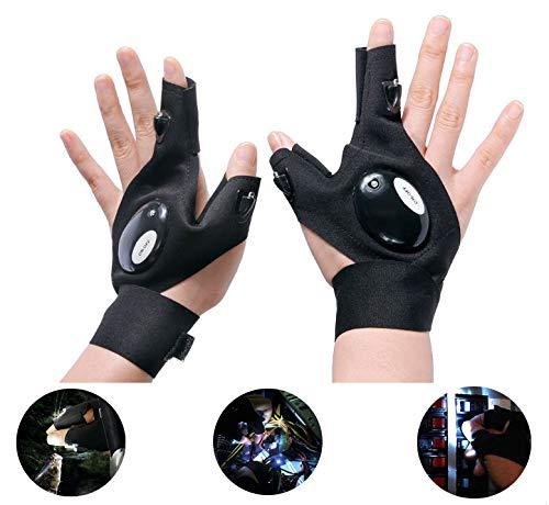 Black Led Light Up Fingerless Gloves in US - 7