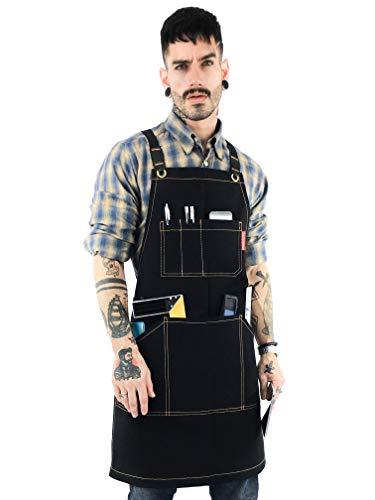 Under NY Sky Essential Black Apron - Heavy Duty Waxed Canvas, Cross-Back, Leather Reinforcement - Adjustable for Men, Women, Pro Mechanic, Welding, Woodwork, Blacksmith, Server Aprons