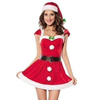 d82b6d3e1f1c Ladies Sexy Mrs Miss Christmas Santa Deck the Halls Xmas Fancy Dress ...