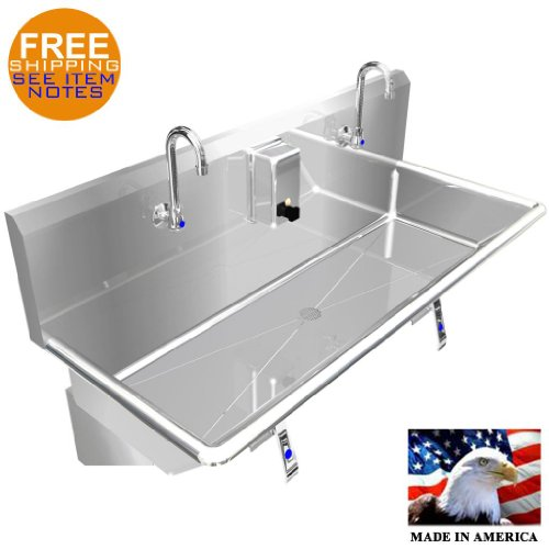 HAND SINK 40'' 2 USERS MULTISTATION KNEE VALVE STAINLESS STEEL BASIN MADE IN USA by BSM