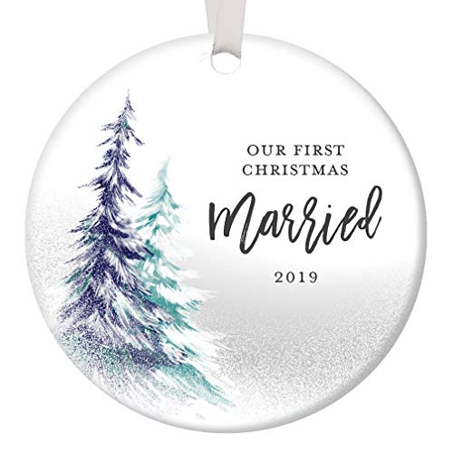 """First Christmas Wedding Ornament 2019 Mr and Mrs 1st Married Holiday Bridal Shower Gift Newlywed Present Ceramic Keepsake Present 3"""" Flat Circle Porcelain with White Ribbon & Free Box OR00364"""