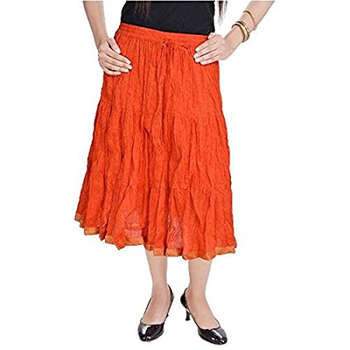 Orange SMSKT542 Cotton Women Orange Long Dark Indian Dark Skirt Handicrfats Export Z6ISqvfFRa
