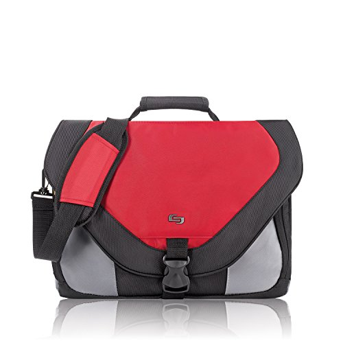 Solo Classic Collection Laptop Messenger Bag, Holds Notebook Computer up to 17 Inches, Red (PT92012) (Collection Computer Zippered Flap)