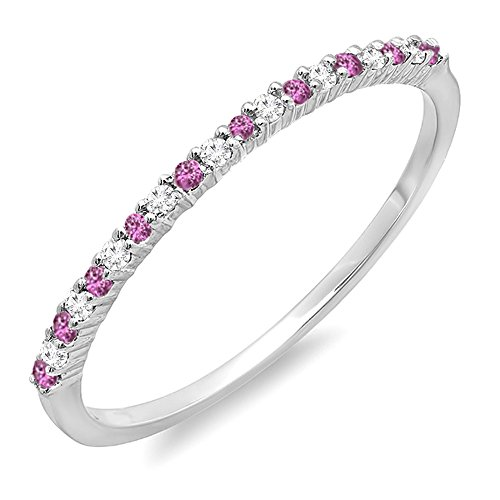 Dazzlingrock Collection 14K Round Pink Sapphire & White Diamond Ladies Wedding Stackable Ring, White Gold, Size 8