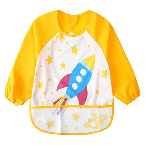 (Toddler Waterproof Sleeved Bib Unisex Infant - Multicolor Cartoon Animal Pattern(6-36)