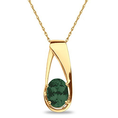 Created Emerald Pendant in 10k Yellow Gold by Nissoni Jewelry