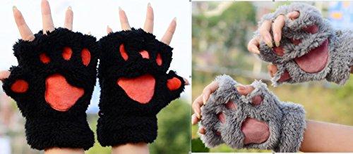 Loritta 2 Pairs Womens Fingerless Kitten Cat Paw Claw Gloves Plush Mitten Glove