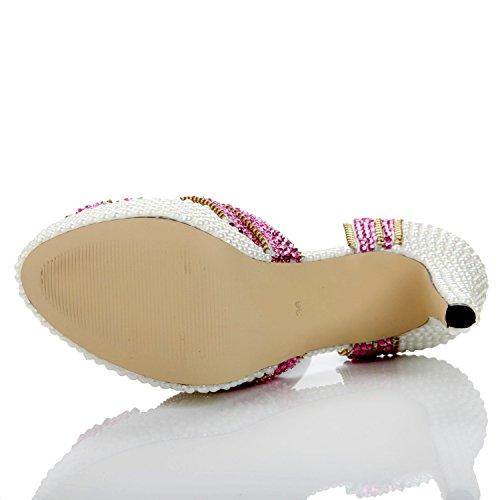 Femmes YC FêTe Hauts de Strass Été Printemps L Peep Sandales Mariage Chaussures Talons PU Et Confort SoiréE La à A pour Toe 5dZZvq